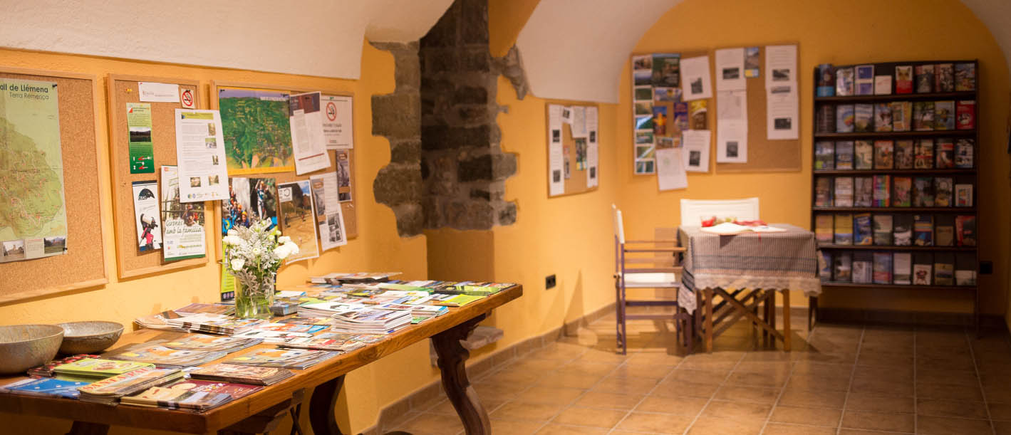 Tourist information room, with maps, hiking routes, activities